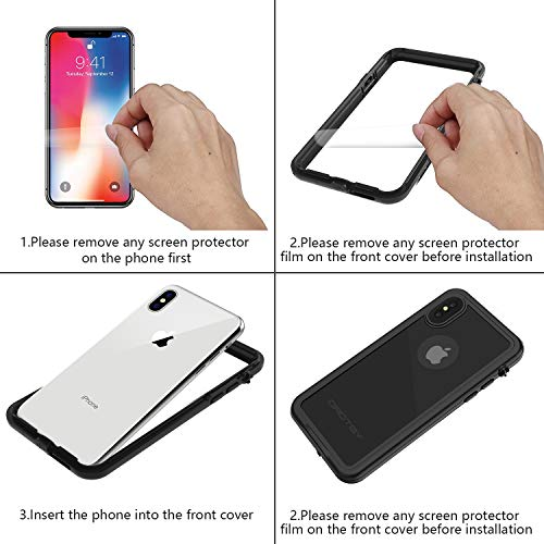 ORDTBY iPhone Xs/iPhone X Waterproof Case, Underwater Full Sealed Cover IP68 Certified for Waterproof Snowproof Shockproof and Dustproof with Built-in Screen Protector for iPhone X/Xs (Clear, 5.8inch)