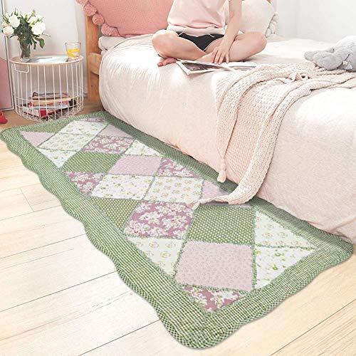 USTIDE Rustikaler Teppich mit Rosenmotiv, Heimdekoration, Baumwolle, Rosen-Muster, einzigartig, gesteppt, rutschfest, waschbar, 2 x 4, baumwolle, grün, 50 x 135 cm