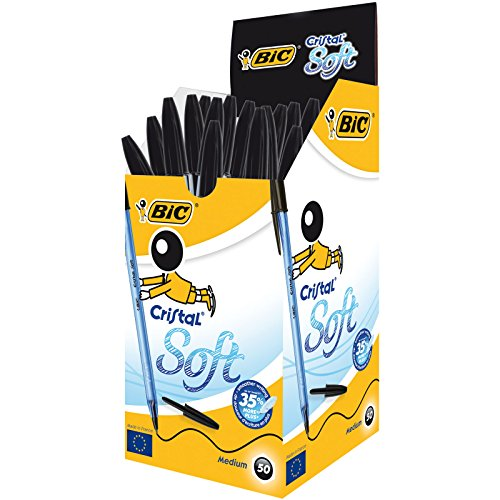 Bic Cristal Soft Punta Media 1,2 mm Confezione 50 Penne Colore Nero