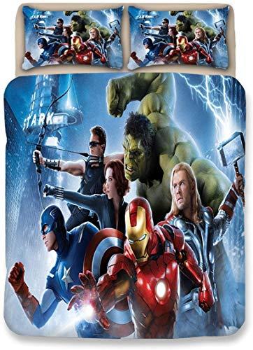 Juego de ropa de cama de Iron Man Marvel, 135 x 200 cm, Avengers 100% microfibra, 1 funda nórdica con cremallera, 2 fundas de almohada (Iron Man-3, 140 x 210 cm + 50 x 75 cm x 2)