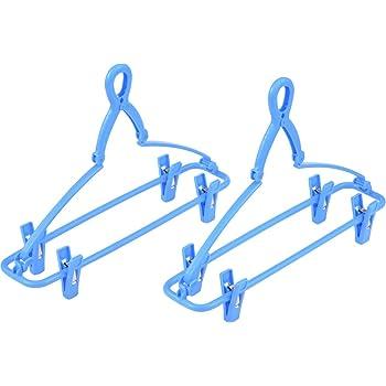 サワフジ 折りたたみ式 ジーンズハンガー 2本組 ブルー