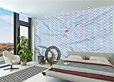LCGGDB Abstract Wall Mural Decal,Wavy Borders Sun and Moon Peel and Stick Self-Adhesive Wallpaper for Livingroom Bedroom Nursery School Family Wall Decals-118x83 Inch