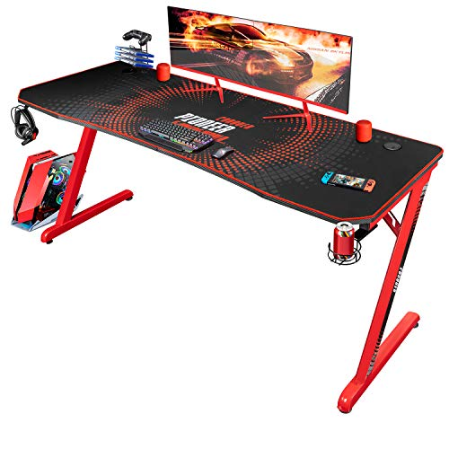 Jummico Gaming Desk 63 inch Computer Desk Z Shaped PC Table Office Gamer Desk with Carben Fiber Surface Full Coverage Mouse Pad Cup Holder Headphone Hook (Red)