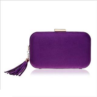 DIEBELLAU Women's Leather Evening Bag Fashion Banquet Bag Tassel Evening Dress Clutch Bag (Color : Purple, Size : XS)