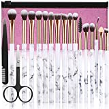 Makeup Brushes DUAIU 16Pcs Premium Synthetic Eyeshadow brushes Eyebrow Eyeliner Blending Marble Handle Brushes sets with Pink Cosmetic Bag Eyebrow Tweezers Nose Scissors