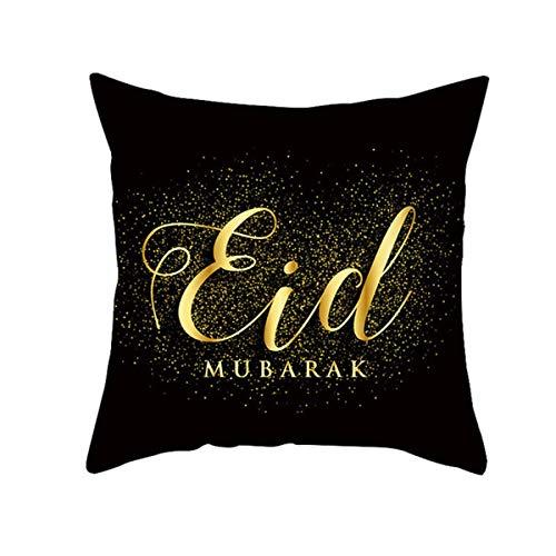 HCHL Fiesta casera Decoraciones de Ramadán para Colgar para el hogar, decoración Cojín Cover Moon Star Ramadan Kareem Funda de Almohada, 4pcs / Set Ramadán Eid