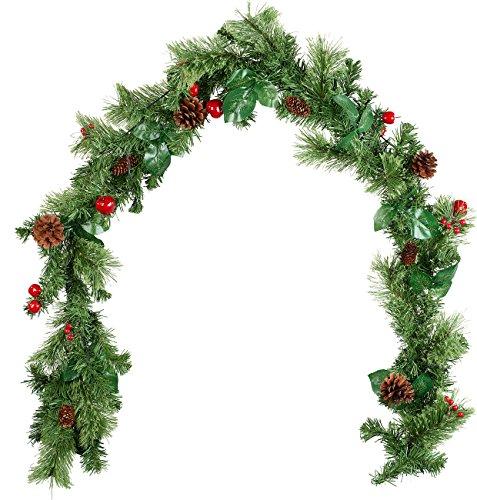 Britesta Weihnachtsgirlanden: Deko-Tannengirlande, geschmückt, beleuchtet mit 20 LEDs, 180 cm (Weihnachtsgirlande geschmückt)