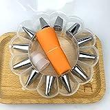 Chirs ofrece 14 piezas / set de decoración de postres de silicona para glaseado de crema pastelera de acero inoxidable con boquilla de glaseado para crema pastelera, naranja
