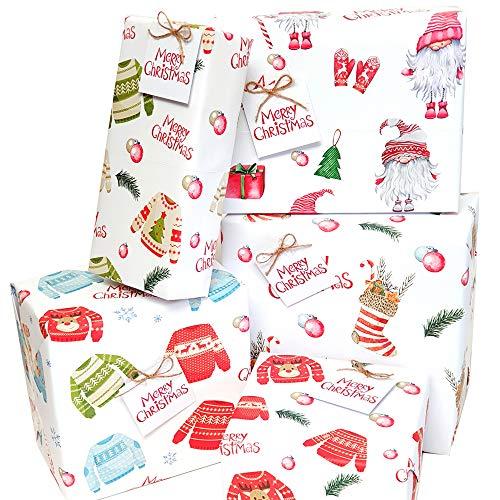 Carta da regalo natalizia, confezione da 10 pezzi, con etichette regalo e corda, ecologica, 5 design diversi a tema Natalizio, con regali di Natale, maglioni, calze e gnomi scandinavi (50 x 70 cm)