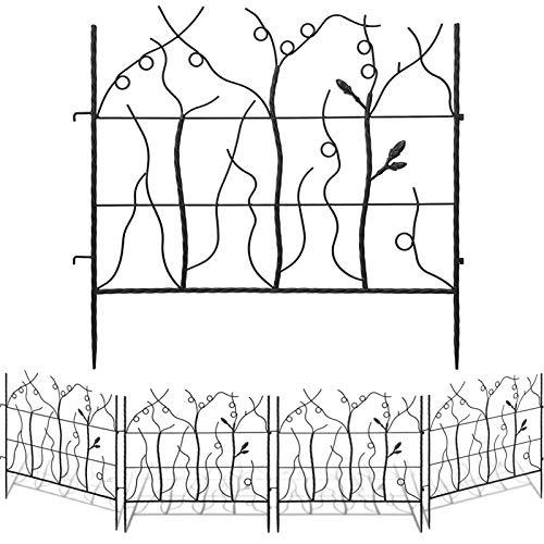 AMAGABELI GARDEN & HOME Decorative Garden Fence GFP009 Outdoor Coated Rustproof Metal Garden Fencing Panel Animal Barrier Iron Folding Edge Wire Border Fence Ornamental for Patio Landscape Bed
