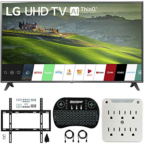 LG 70UM6970 70-inch HDR 4K UHD Smart LED TV (2019) Bundle with Deco Mount Flat Wall Mount Kit, Deco Gear Wireless Backlit Keyboard and 6-Outlet Surge Adapter with Night Light