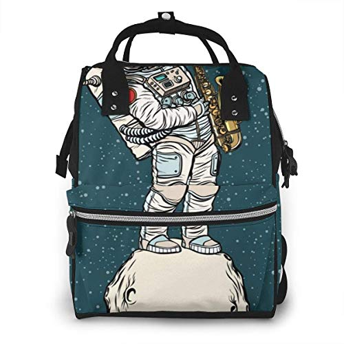 UUwant Mama Windel Rucksack Astronaut Saxophonist Plays Jazz Space Saxophone The Arts Diaper Bags Large Capacity Diaper Backpack Travel Nappy Bags Mummy Backpackling
