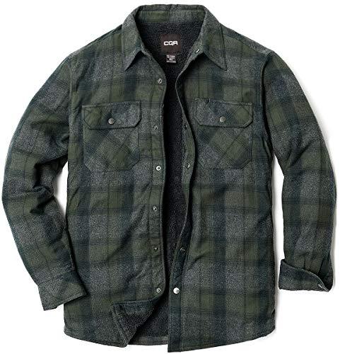 CQR Mens Sherpa Drawn Flannel Shirt Jacket Soft Long Sleeve Rugged Plaid Button Up Jacket Grey XXXL