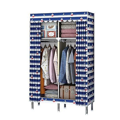 Vouwen garderobe, Double Stof Canvas kast - Tijdelijke kleding opslag met opknoping spoor (170 * 110 * 45),Blue