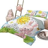 Juego de edredón para niños, tamaño Completo, colchas para niños, Colcha, Lindo Conejo en el jardín
