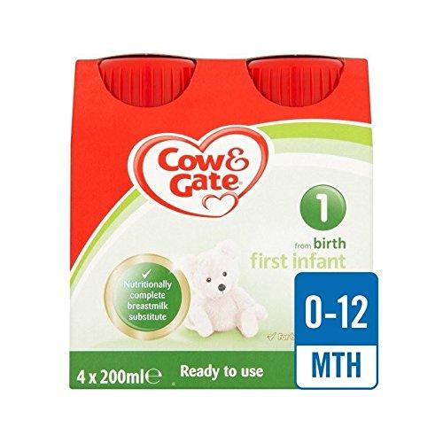 Cow & Gate 1 Erste Milch Bereit Multipack 4 X 200 Ml Zu Füttern - Packung mit 4
