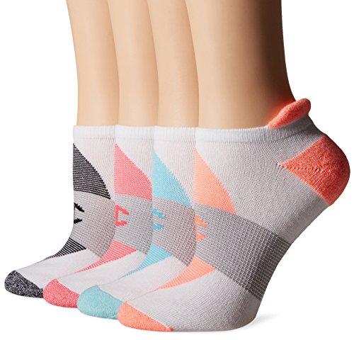 Champion Women's Double Dry 4-Pack Performance Heel Shield Socks, White/Grey Stripe, 5-9