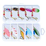 Spinner Baits-10pcs Fishing Lures-Dr.meter Trout Lures Hard Metal Spinner Baits Kit with Tackle Box, Spinner Baits for Bass Fishing, Freshwater Saltwater Fishing Lure Spinnerbait-Fishing Gifts for Men