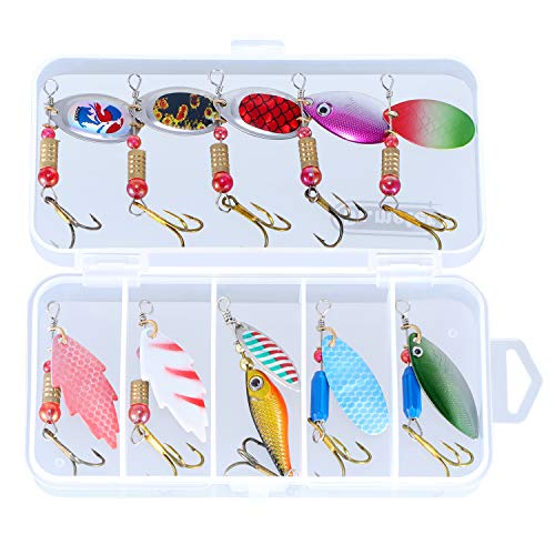Dr.meter Fishing Spinners, 10pcs Fishing Lure Spinner Bait Kits Metal Hard Spinnerbait Lures Kit with Tackle Box for Freshwater Saltwater, Fishing Gifts for Men