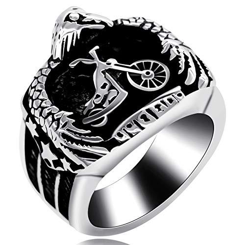 Uloveido Anillo de Rock de Motocicleta de Acero Inoxidable Hombres Anillo de Hip-Pop Anillos de águila Anchos para Boyfriend Boy Party Holiday Jewelry Gift Y516