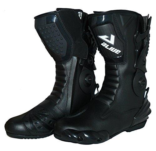 Protectwear TS-006-43 Motorradstiefel Racing aliue, Wasserabweisend aus schwarzem Leder mit aufgesetzten Hartschalenprotektoren, Größe 43, Schwarz - 4
