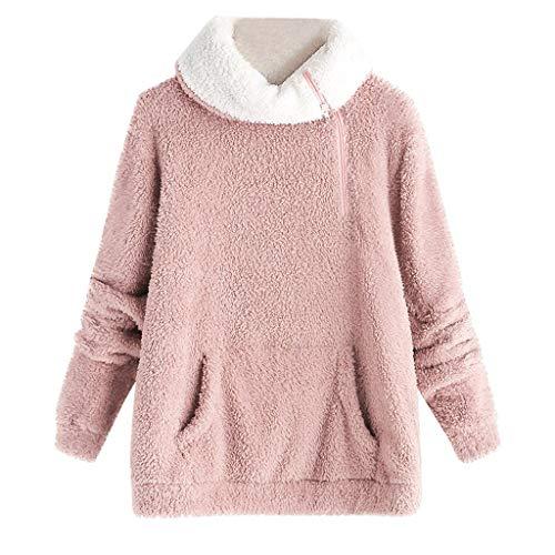 MRULIC Damen Winter Pullover Langarm Fleece Sweatshirt Warm Zip Solid Fuzzy Hoodie Rollkragen Pullover(Rosa,XL)