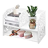 DL furniture - 3 Compartment Wood plastic composite Desk Organizer, Perfect For Book Shelf, Make Up Organizer, Cookie Rack (White1)