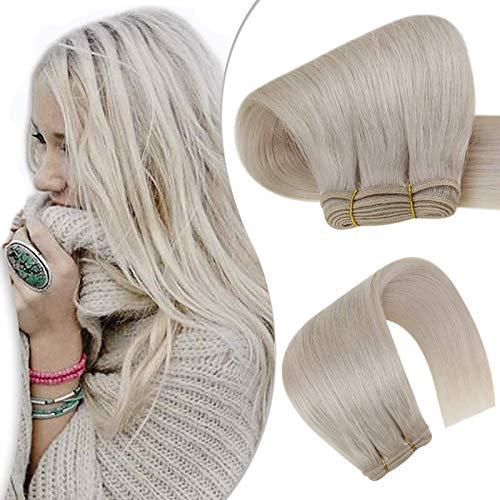 Hetto Remy Trama dei Capelli Female Hair Kinky Straight 18 Inch Fasci di Tessere Remy 100g/bundle Weaving Natural Hair 60 Bionda Platino Capelli Veri Extensions Human Remy Hair Weft