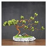 ffshop bonsái Artificial Pequeña Planta de árboles de bonsái Artificial Potted, Pine Bonsai Plant Faux Bonsai, para la Pantalla de Escritorio de la Patio de Windows, 9 Pulgadas para decoración
