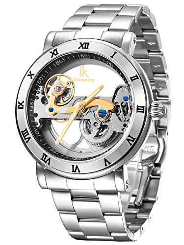 Alienwork IK Herren Damen mechanische Automatik-Uhr Silber mit Edelstahl Metallarmband Skelett