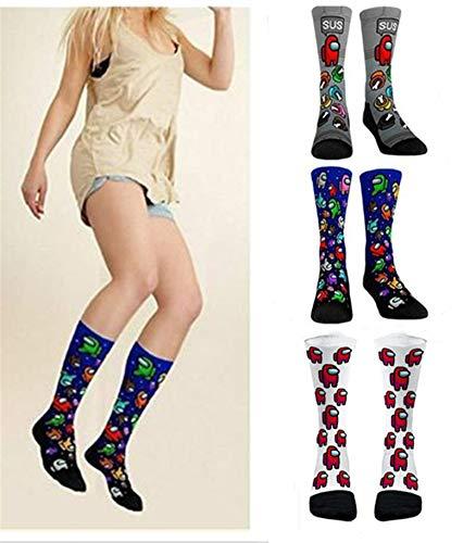 Fufuyme 3 Paare Among Us Socks, Imposter Socks, Among Us Collage Hosiery, Unisex Mode Lange Strümpfe, Cartoon Muster Neuheit niedlichen Geschenk, One Size Universal