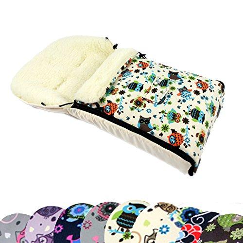 BAMBINIWELT universaler Winterfußsack (90cm oder 108cm), auch geeignet für Babyschale, Kinderwagen, Buggy, aus Wolle im Eulendesign (108cm, 4)