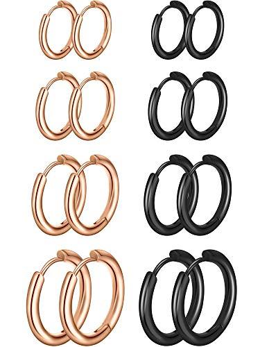 8 Pares de Pendientes de Aro de Cartílago Pendientes de Aro Pequeños de Acero Inoxidable Anillos de Labio Nariz para Mujeres Hombres, 8 mm 10 mm 12 mm 14 mm (Oro Rosa, Negro)