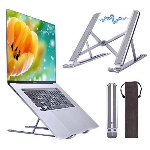 Laptop Ständer, Yanavee Aluminium Laptop Stand höhenverstellbar mit Spezielles Magnetisches Design, Faltbarer Notebook Ständer kompatibel mit Laptops 10-15,6 Zoll (Space Grey)