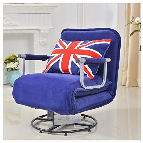 Sofá giratorio de franela para sofá cama individual, ajustable, respaldo suave, dormitorio, sala de estar, 190 x 68 cm (color: azul)