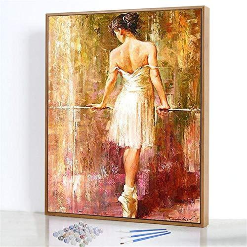 GJJHR DIY Pintura por Números Kits,Espalda Desnuda Pintada a Mano Pintura al óLeo Digital, DecoracióN del Hogar Regalo - 40x50cm(Marco de Madera)