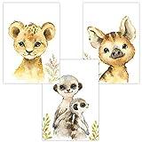 Wandbilder 3er Set Safari Baby für Babyzimmer Deko Poster | Kunstdruck DIN A4 | Dekoration Kinderzimmer (Babys Löwe Erdmännchen Wildschwein)