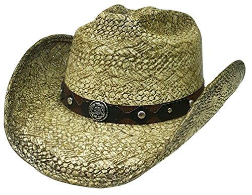 Modestone Straw Chapeaux Cowboy Metal Concho Studs Hatband Khaki