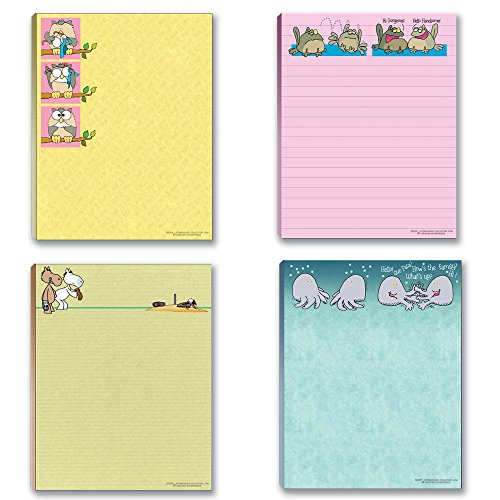 Cute Notepad Assorted Pack - 4 Funny Notepads, Notepad Set, Gift Set
