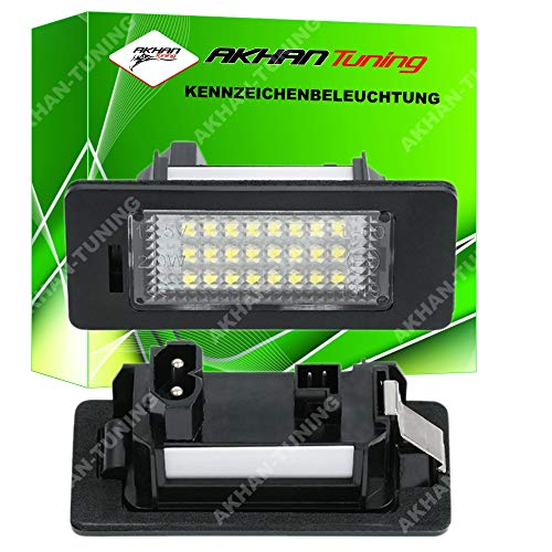 Akhan KB135 - LED Kennzeichenbeleuchtung fuer E39 E60 E61 E90 E91 E92 E93 E82 E88 Nerschildbeleuchtung Plug and Play komplette Einheit mit 18 Leds