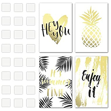 Set of 4 Decorative Posters 11  X 17  1mm Thick Cardboard with Double Sided Tape Included - Summer Time Quotes and Gold Pineapple Inspirational Wall Art - Perfect Prints for Bedroom, College Dorm, et