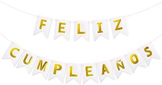VINFUTUR 1 Juego de Banner Feliz Cumpleaños Pancartas Cumpleaños Español Bandera de Papel Guirnalda Colgar para Decoración Fiestas Banquete