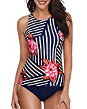 Holipick Women Striped Flower Tankini Swimsuits High Neck Halter Tummy Control Two Piece Bathing Suits L