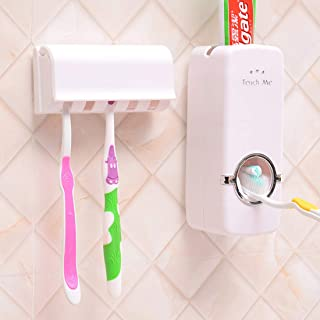 USAMS Toothbrush Holder Automatic Toothpaste Dispenser Set Dustproof with Super Sticky Suction Pad Wall Mounted Kids Hands Free Toothpaste Squeezer for Family Washroom Bathroom