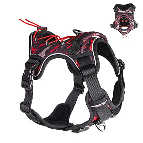Dog Harness for Medium Dogs No Pull, Tactical Dog Harness Medium Size Dog, Medium Dog Harness French Bulldogs, Adjustable Dog Harness with Handle, Reflective Dog Harness for Walking Training Running