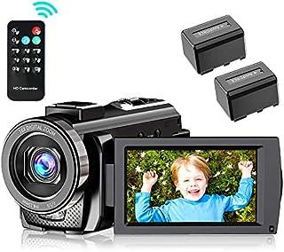 ビデオカメラ Metrusty デジタルビデオカメラ HDビデオカメラ 2400万画素 HD 1080P 16倍デジタルズーム 遠隔操作 一時停止機能 リモコン付き 270度回転画面 SDカード(最大32GB) 予備バッテリーあり 日本語システム