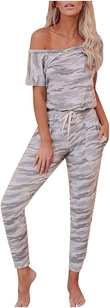 Women Romper,Women Short Sleeve Camouflage Long Pajamas Set One Piece Jumpsuit Sleepwear