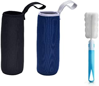 Winallc 2 Pack Water Bottle Sleeve Neoprene Bottle Carrier Nylon Bottle Sleeve for 19.4 oz/550 ml Glass Water Bottle with Cup Brush, Black and Blue