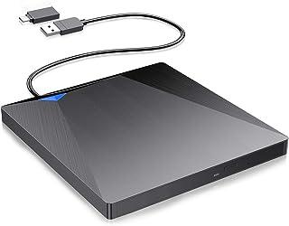 V-supre 外付け DVDドライブ CDドライブ PC ポータブル ドライブ USB3.0 Type-C DVD±RW DVDプレーヤー 読取・書込 薄型 Windows/Mac OS//Linux/Vista 対応 ブラック