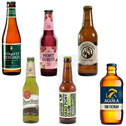 Pack de Cervezas Originales - Straffe Hendrik 33cl - Pilsner Urquell 33cl - Mort Subite 25cl - Brewdog Dead Pony Club 33l - Peregrina 33cl - El Aguila Sin Filtrar 33cl - Envío 24/48h asegurado